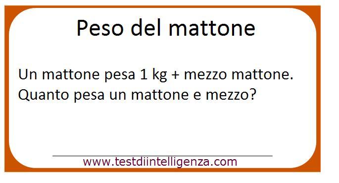 Soluzione del test peso del mattone for Costo del mattone da costruire
